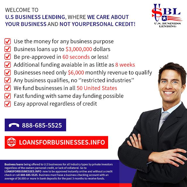 Business Loans- Non Credit Qulaifying - 60 Second Instant Pre- Approvals -  3 000 -  3 Million