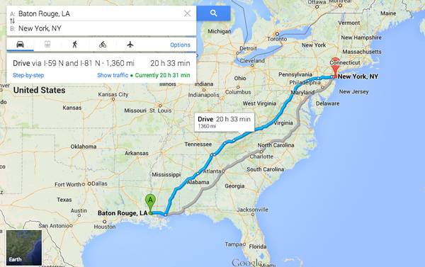 Baton Rouge to NYC  june 10th-11th   LSU area