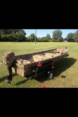 14 ft aluminum fishinghunting boat,motor, and trailer - $1500 (Marksville,La)