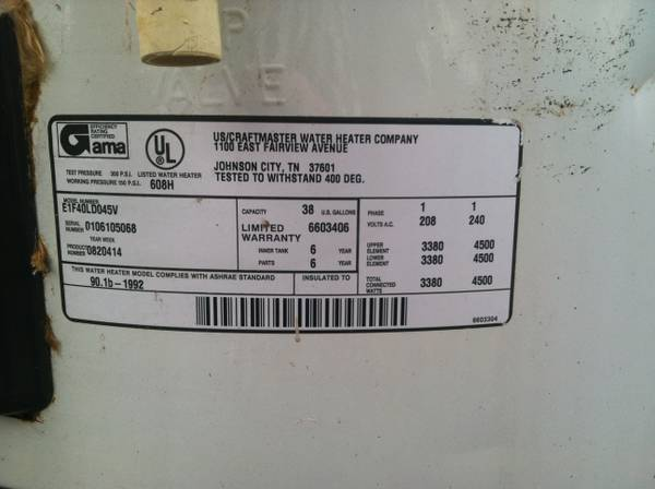 40 Gal Hot Electric Hot Water Heater -   x0024 125  Pelican