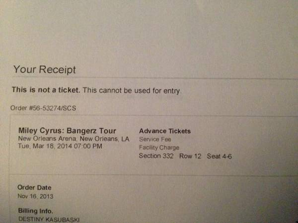 Miley Cyrus Bangerz Tour Tickets -  70  New Orleans Arena  3 18 14