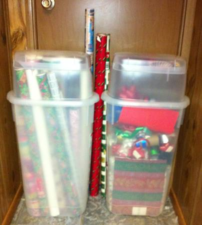 2 - Rubbermaid Wrap N Craft Storage Containers Full of Wrappings - $24 (Denham Springs)