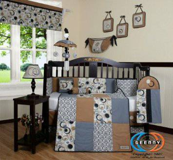 Baby Boy Crib Set - blue grey and tan  -   x0024 50  Alexandria