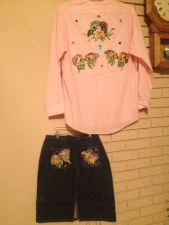 Mardi Gras shirt skirt set -   x0024 10  Pineville