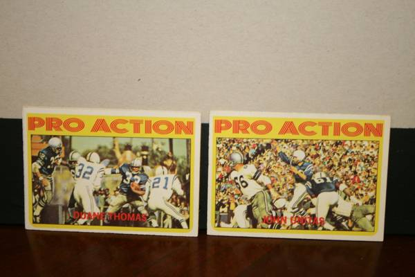 72 Topps Pro Action football cards -   x0024 11  347 W Tunica Dr