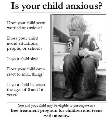 Is your child anxious  IMPACT Anxiety Study - Free  Louisiana State University