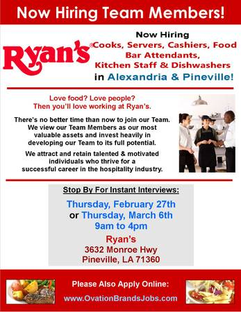 Open Interviews - Team Members - Cook  Server  Cashier  Dishwasher  Pineville   Alexandria