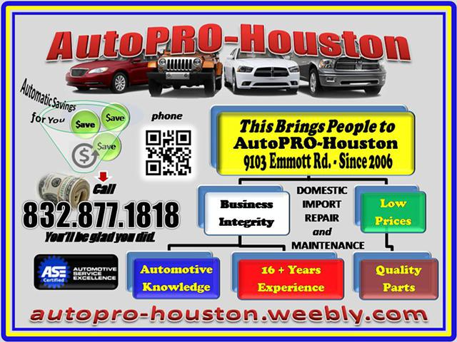 Call the other shops for a Quote        Then call AutoPRO-Houston 0105  Best Price and Service