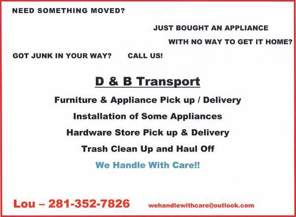 Call us for Appliance and Furniture PU Delivery