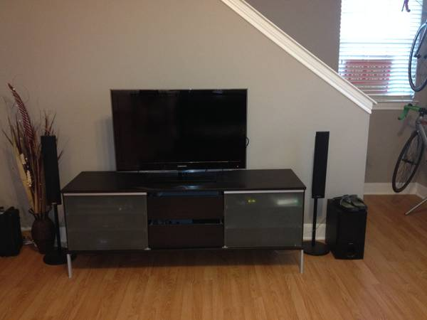 IKEA TV Wood Glass Doors TV Stand - $100 (College Station, TX)