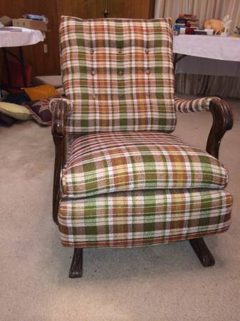 Antique upholstered rocking chair - $65 (Bryan)