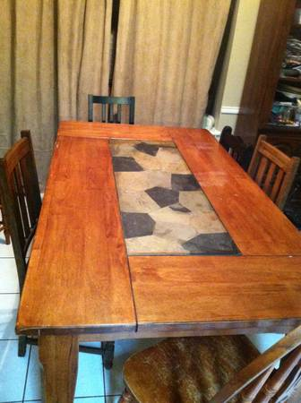 World Market Slate Table and mismatched chairs - x0024120 (Bryan)