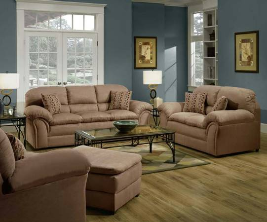 NEW SIMMONS VELOCITY LATTE MICROFIBER SOFA  LOVESEAT - $599 (WACO. WE FINANCE. FAST DELIVERY)