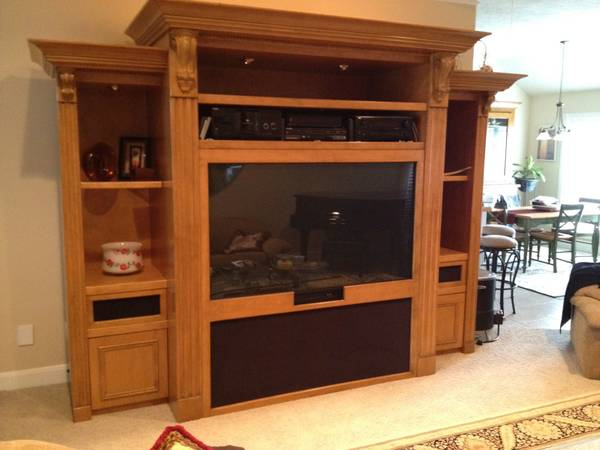 Solid Oak Entertainment Center with Big Screen TV - $3000 (College Station, TX)