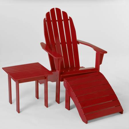 BRAND NEW World Market Adirondack Chair - Red Footstool and Table - $100 (College Station, TX)