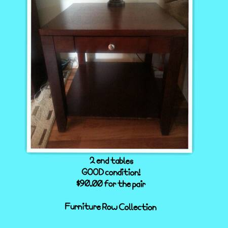End tables (furniture row collection) - $90 (franklin)