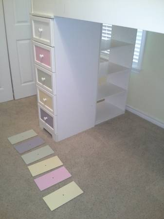white kids loft bed with dresser and desk - $240 (Pebble Creek)