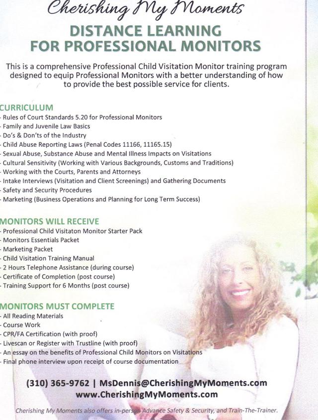 Professional Child Visitation Monitor Training - Distance LearningHome Study