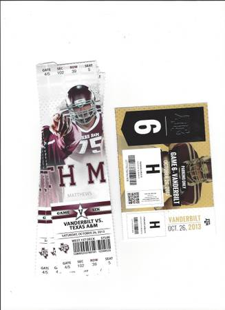 AM vs VANDERBILT - 4 VIPARMCHAIR SEATS H LOT PARKING PASS - $850 (BRYAN, TEXAS)