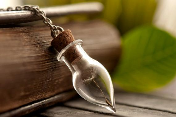 9  Dandelion seeds Handmade Wish Necklace in Handblown glass vial