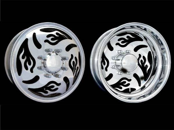 Brenz 19.5 Flame Dually Wheels Aluminum - $1000 (Caldwell)