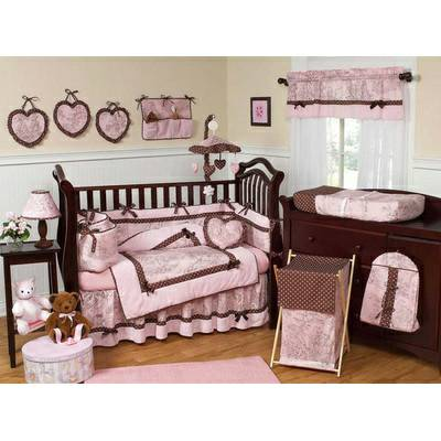 Pink and Brown Vintage French Toile 9 Piece Crib Set - $100 (BryanCollege Station)
