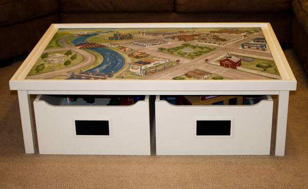 POTTERY BARN KIDS ACTIVITY TABLE Carts Train Mat - $275 (College Station )