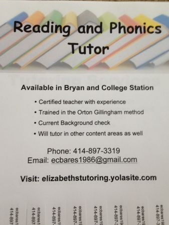 Reading and Phonics Tutor - $15 (College Station)