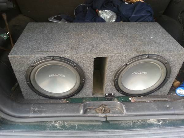 two 12 inch Kenwood speakers with box - $100