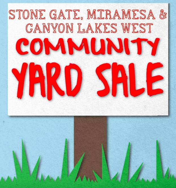 1  Stone Gate   Miramesa  Canyon Lakes West Fall Community Garage Sale