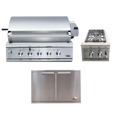 $3,948, DCS 36 Inch Traditional Gas Grill Built In Package w Sideburner Doors