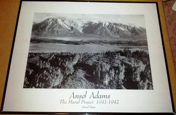 Ansel Adams framed print - The Mural Project 1941-1942, Grand Teton - $18 (College Station)