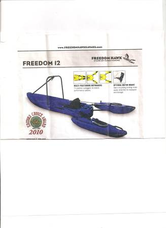 KAYAK-FREEDOM HAWK 12FT - $1000 (CORPUSROCKPORT)