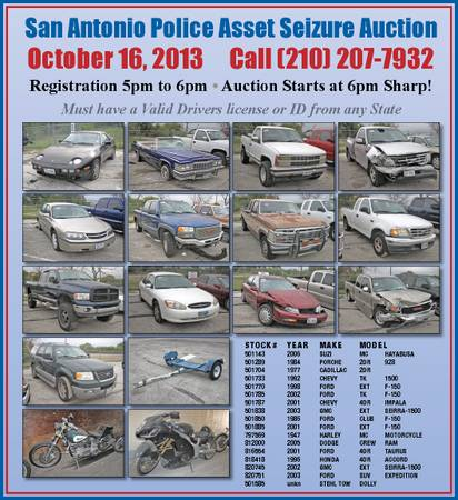 San Antonio Police Asset Seizure AUCTION AUCTION AUCTION (3625 Growdon Road)