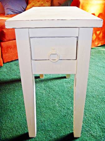 Refinished Side Table, White Coastal Distressed Look, Free Delivery - $50 (Southside)