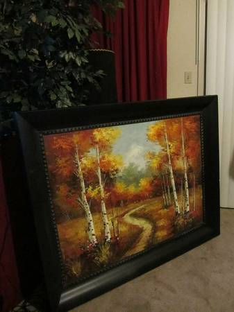 Huge 6 foot x 47 Forest Painting on Canvas,FramedSigned (southsidecc)