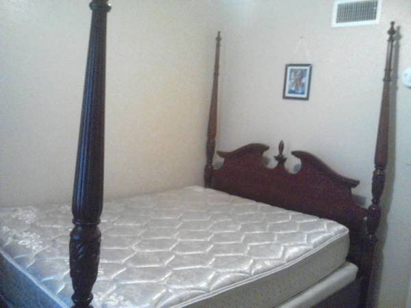 full size bed with 4 post cherry wood frame - $300 (corpus christi )