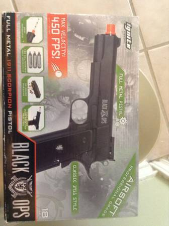 ignite airsoft black ops full metal 1911 scorpion pistol - $75 (Southside)