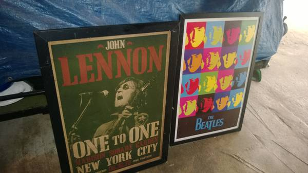 Wood frame posters of The Beatles (corpus area)