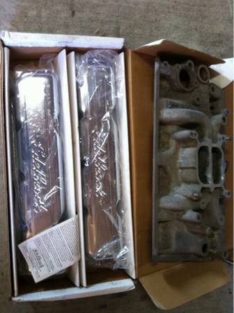 AMC V8 edelbrock intake and valve covers. - $100 (Flour Bluff)