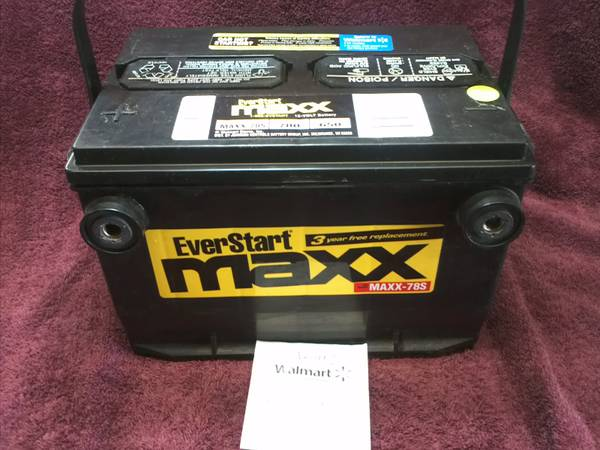 Walmart Everstart MAXX78S Battery still under warranty with receipt - $65 (Ingleside)