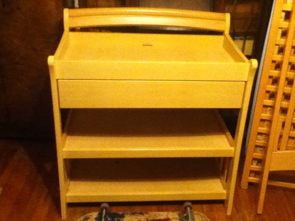 LIGHT WOOD CHANGING TABLE AND CRIB - $160