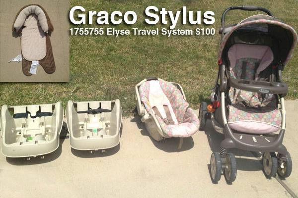 Car SeatStroller Graco Stylus Elyse Travel System - $100 (South Side, Staples  Lipes)