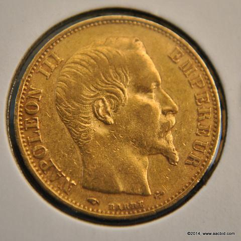 1859A France Napoleon III Gold Francs Coin