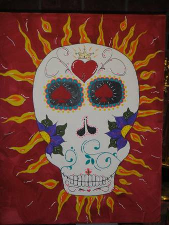 skull canvas painting - $60
