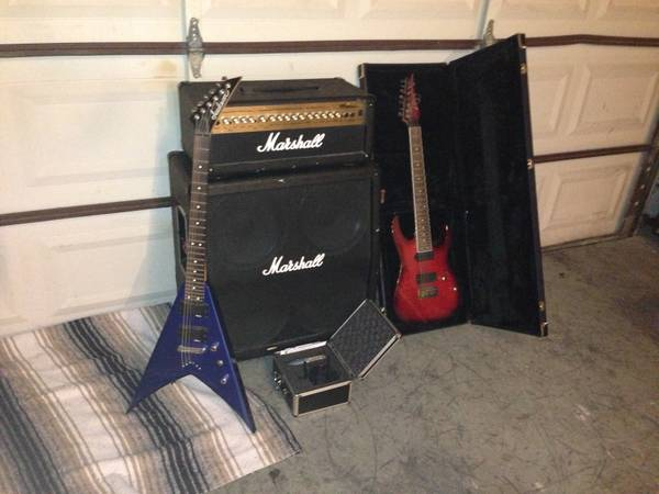Guitars, Amp, pedal, and Microphone - $1 (Annaville)