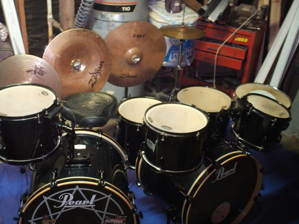 Pearl Joey Jordison Export 7-Piece Double Bass Drum Set w extra items - $700 (Gregory, Tx)