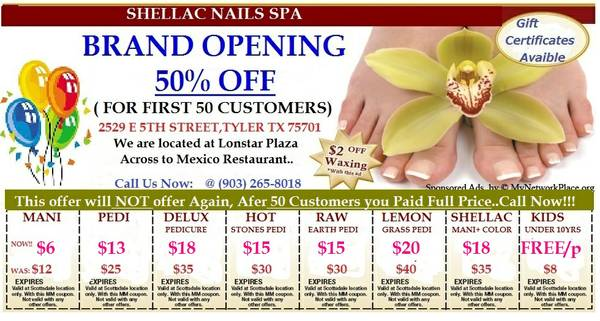 Shellac nails Spa   discount coupons online        tyler