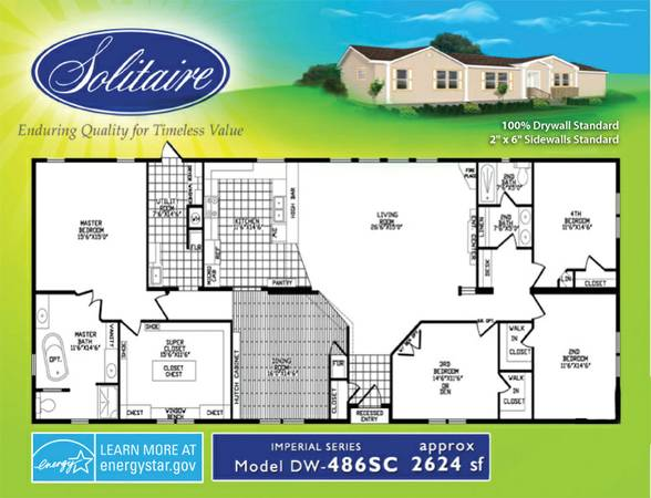 4br - 2624ftsup2 -  USED Solitaire Home I have one.. in FANTASTIC Shape (www.SolitaireHomes.comTyler 9037147873)