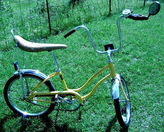 Vintage Yellow Schwinn Fair Lady Bike Flowered Banana Seat - $300 (Harleton, Texas)